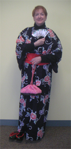 Librarian wearing a Yataka and Obi - Japanese attire
