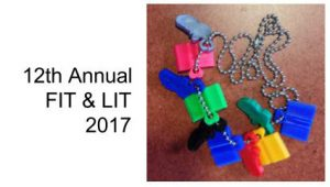 Image of FIT & LIT necklace with sneaker and book charms. Each represents 600 minutes for reading or exercising.